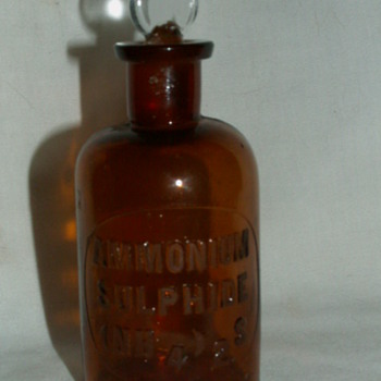 Antique Ammonium Sulfide (NH4)2S - Brown Glass Bottle & Glass Stopper - Bottles