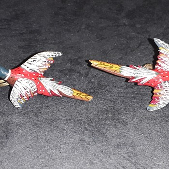Unsigned handcrafted pheasant earrings  - Animals