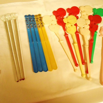 McDonalds 1970's Cocaine stirrers!  Pan Am, Harrahs Show Girls, Hand blown glass,  Mr. Bartender, and Musical bottle from 1950' - Advertising