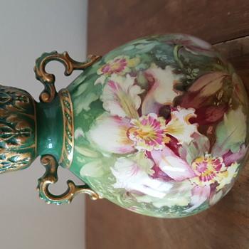 Green Flowered Vase-European - Pottery