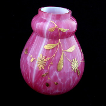 Harrach Pink Splatter Hand Painted Cased Glass Vase - Art Glass
