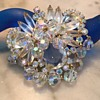 D & E CLEAR CRYSTAL BROOCH w dangles