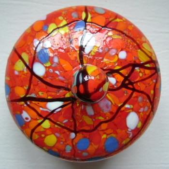 Czech Art Deco Trinket Box - Art Glass