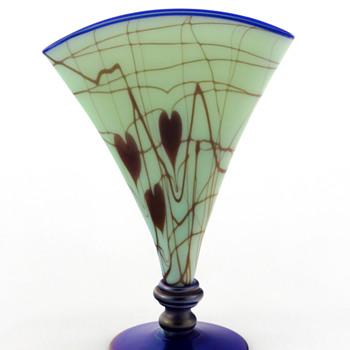 Fenton 3028 Antique Green w Hanging Hearts & Vine Off Hand Line Fan Vase ca. 1925-26 - Art Glass