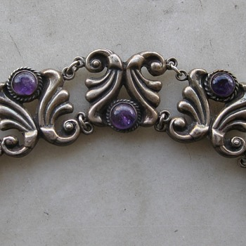 Amethyst and sterling Mexican bracelet - Fine Jewelry