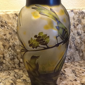 Antique Cameo Glass Vase - Art Glass