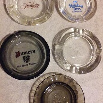 five small 'hotel branded' glass ashtrays - Tobacciana