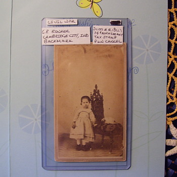 PHOTO, CIVIL WAR ERA, CHILD WIYTH BALL STANDS NEAR GREAT CHAIR, TAX STAMP ON BACK, INDIANA - Photographs