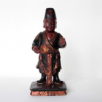 Chinese Antique Hand-Carved wood filigree figure sculpture