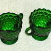 Green Glass Bubble Pattern Creamer & Sugar Bowl