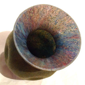Czechoslovakia Sand Paper Finish Glass Vase - Art Glass