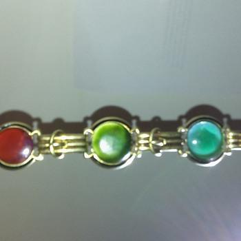 Vintage Gold Jade Bracelet