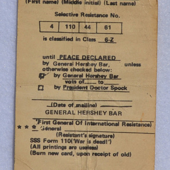1960s anti-draft card - General Hershey Bar