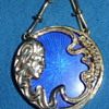 Blue enamel 14k gold cameo (chain added later)