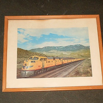 Vintage Framed Print of Union Pacific 987 Passenger Train - Railroadiana