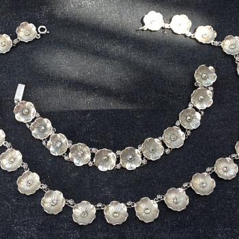Bernard Instone Silver and Marcasite Flower Necklace and Bracelet
