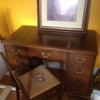 Leather Inlay Desk and Needlepoint Chair - Furniture