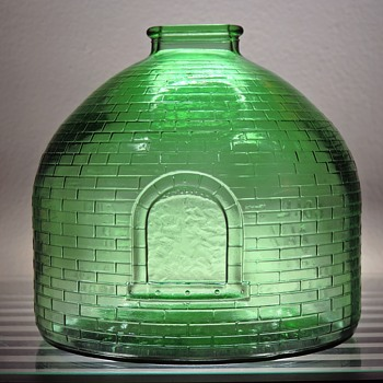 1969 Anchor Hocking Glass Coin Bank Coal and Coke Museum Association of Pennsylvania Oven Kiln Replica Green Embossed - Coin Operated