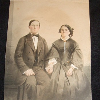 1858 Painting of couple holding hands