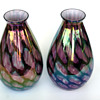 "Kralik pair of  ""turtle shell""?? Iridescent ball/tear drop vases"