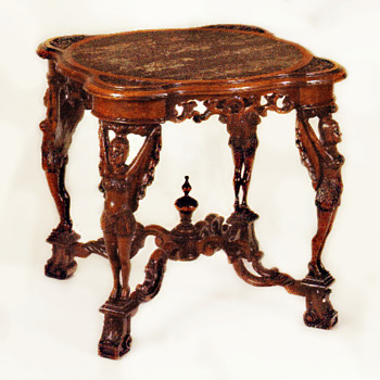 Magnificent Art Deco Italian Carved Walnut Wood & Portobello Marble Table, circa 1925 - Art Deco