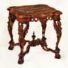Magnificent Art Deco Italian Carved Walnut Wood & Portobello Marble Table, circa 1925