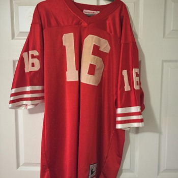 Original 1989 Mitchell and Ness S.F.49ers Montana Jersery,  Tan Color Letters and Name - Football