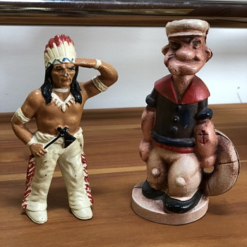 Antique Indian Chief & Popeye Cast Iron Piggy Bank - Coin Operated