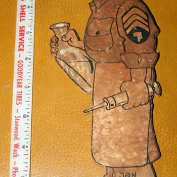 1945 Army Medic figure on plywood - Military and Wartime