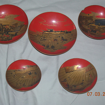 Antique Lacquerware Sakazuki Set - Asian