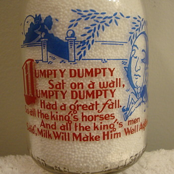 SANITARY DAIRY...WARREN OHIO...2 COLOR NURSERY RHYME CREAM TOP...HUMPTY DUMPTY - Bottles
