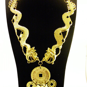 Vintage Kenneth Jay Lane Double Dragon Coin Necklace - Costume Jewelry
