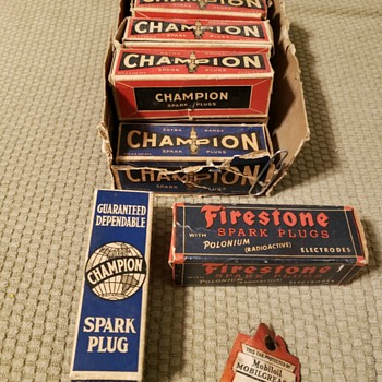 Old time spark plugs - Advertising