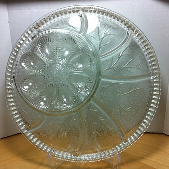 """12.78"""" Indiana Glass Pebble Leaf Deviled Egg and Relish Tray Dish Clear Glass"""