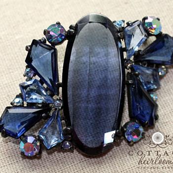 Vintage Blue Aurora Borealis and Rhinestones Japanned Brooch - Costume Jewelry
