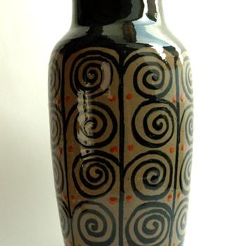huge french art deco pottery vase by LEON ELCHINGER (1871-1942) - Art Deco