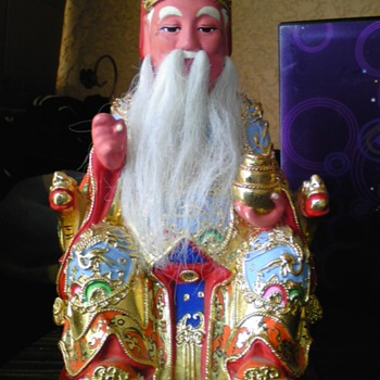 chinese lacquered wood Tu Di Gong statue - Asian