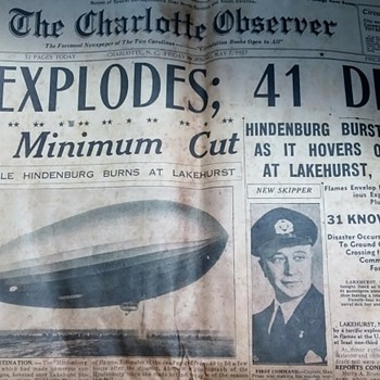 "Charlotte Observer 1937 Newspaper "" The Hindenburg Explodes"" May 1937 - Paper"