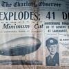 "Charlotte Observer 1937 Newspaper "" The Hindenburg Explodes"" May 1937"