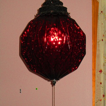 70's Ruby colored Swag Lamp (Kinda Gothic!)