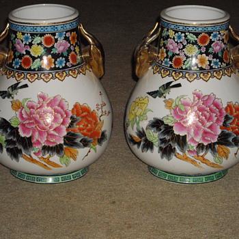 Famille Rose Vases  I think? - Asian