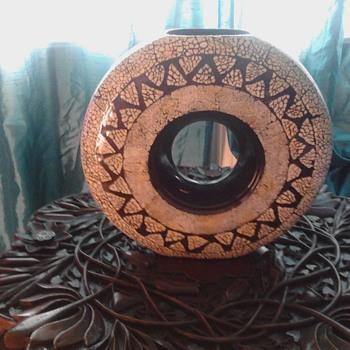 """Round hoop mosaic vase 14"""" diameter - Pottery"""