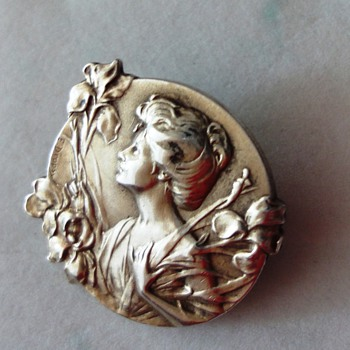 Art Nouveau Rolled Gold?) French Lady with Irises Brooch by E.DROPSY - Fine Jewelry