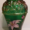 Fenton hand painted carnival glass vase