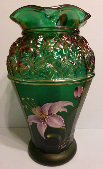 Fenton Hand Painted Carnival Glass Vase Collectors Weekly