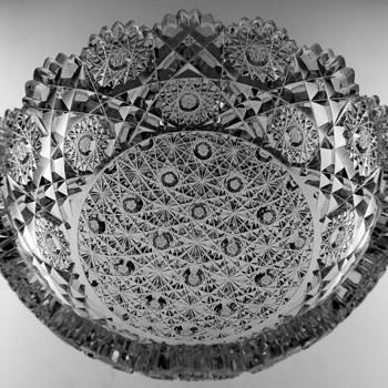 "Cut Glass Bowl, ""Royal Pattern"", Hunt Glass Co. - Glassware"