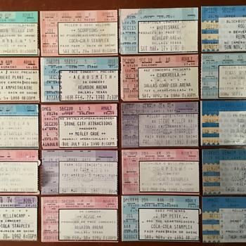 Concert Ticket Stubs The Who, Steve Miller, Rod Stewart, White Snake, Scorpions, Tom Petty, Robert Plant, Van Halen, Aerosmit - Music Memorabilia