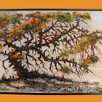 Mid Century Painting GHOST TREE signed - Mid-Century Modern