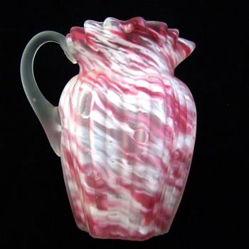 Scarce Northwood Ribbed Pillar in Pink Spatter & Satin Glass Creamer - Glassware