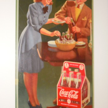 "1942, 16""x27"" Cardboard Coca-Cola Sign - Coca-Cola"